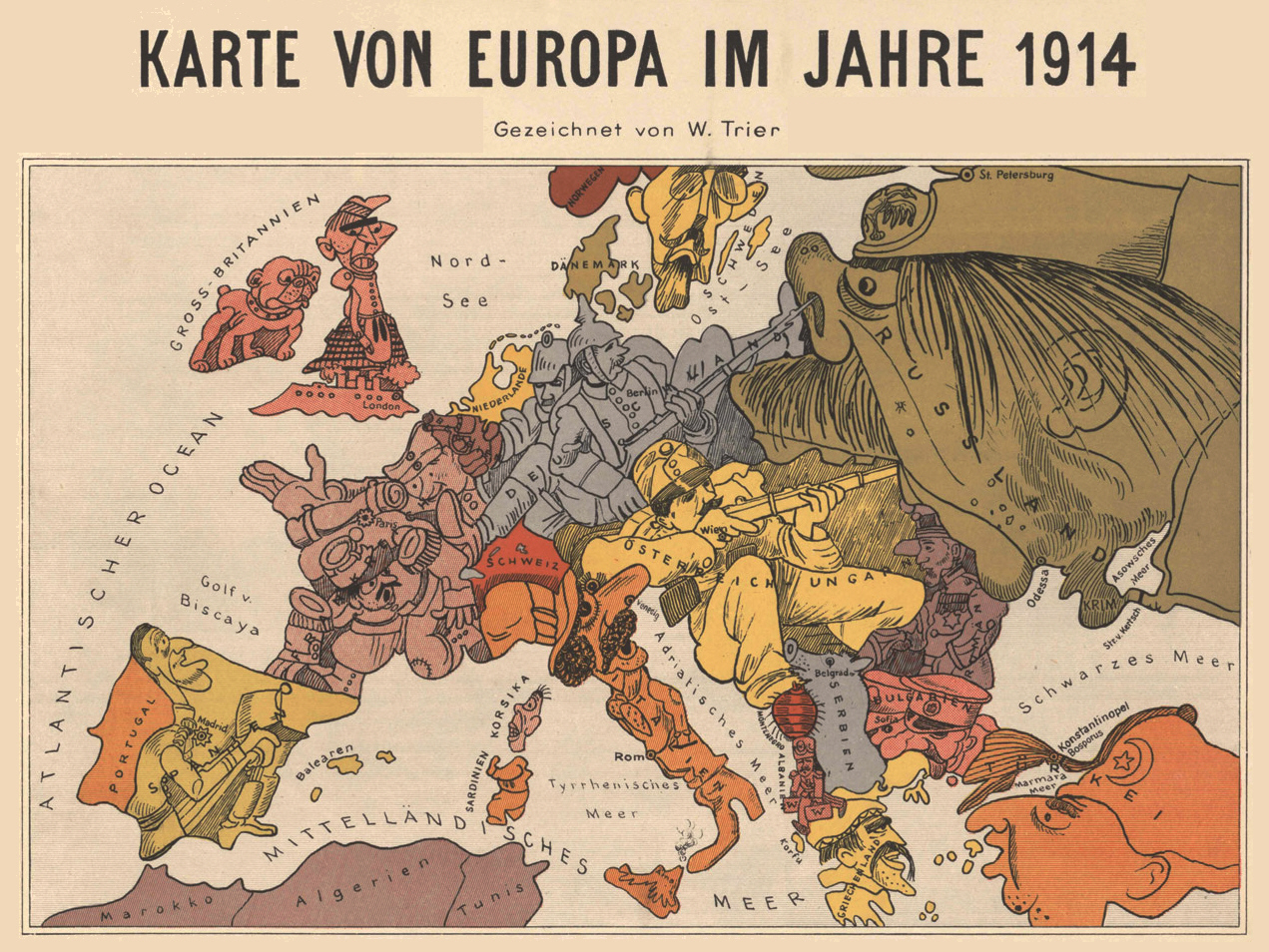 Roads to the great war satirical maps from the early war europe 1914 drawn by walter trier gumiabroncs Images